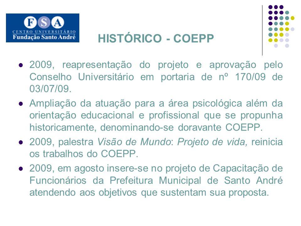 HISTÓRICO - COEPP 2009, reapresentação do projeto e aprovação pelo Conselho Universitário em portaria de nº 170/09 de 03/07/09.