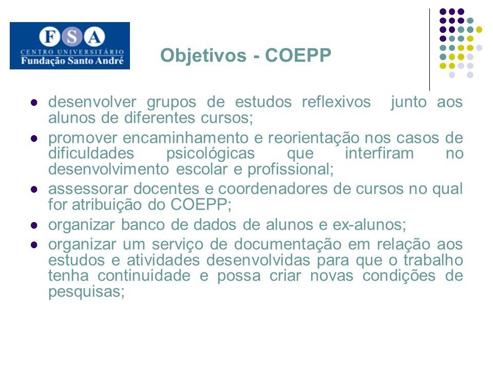 Objetivos - COEPP desenvolver grupos de estudos reflexivos junto aos alunos de diferentes cursos;