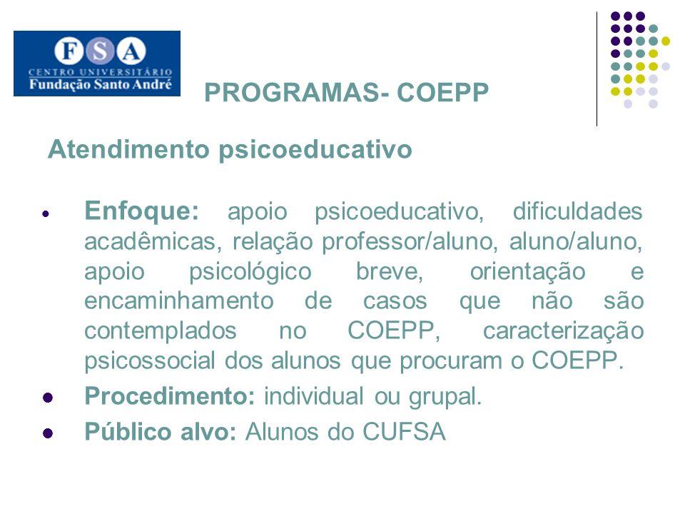 PROGRAMAS- COEPP Atendimento psicoeducativo.
