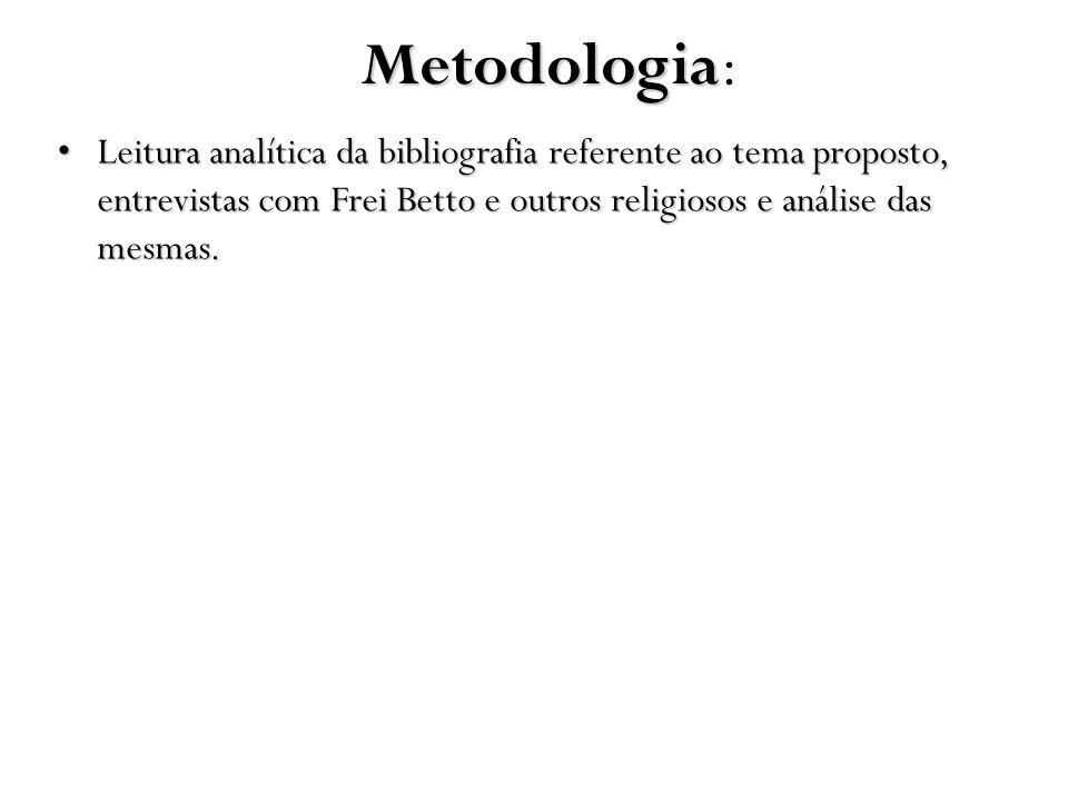 Metodologia: Leitura analítica da bibliografia referente ao tema proposto, entrevistas com Frei Betto e outros religiosos e análise das mesmas.