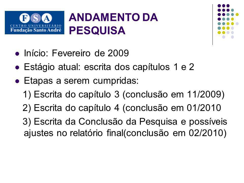 ANDAMENTO DA PESQUISA Início: Fevereiro de 2009