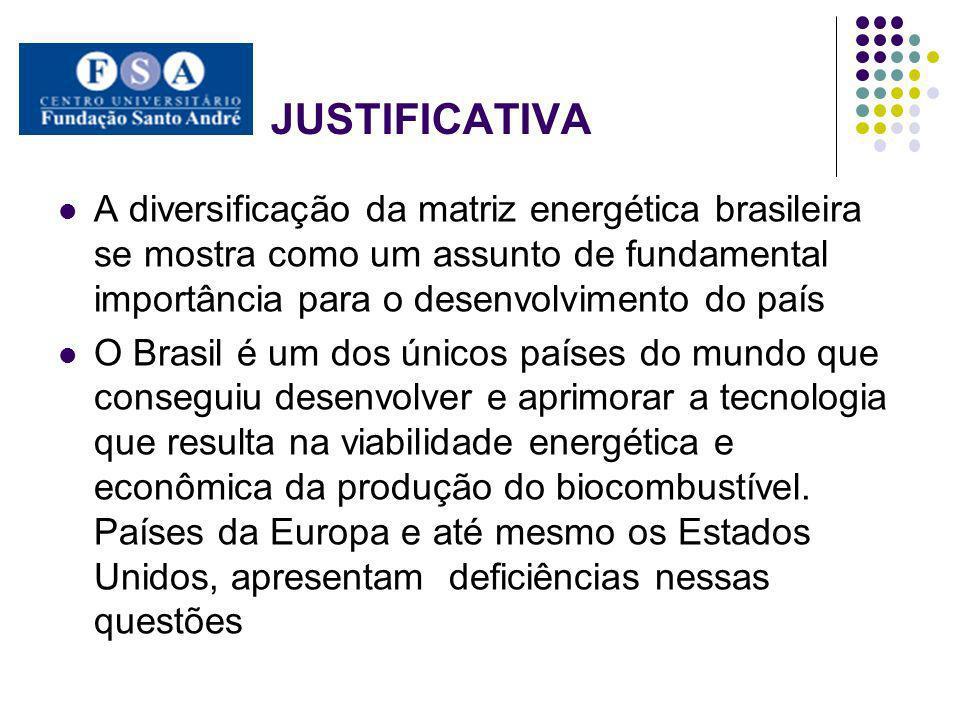 JUSTIFICATIVA A diversificação da matriz energética brasileira se mostra como um assunto de fundamental importância para o desenvolvimento do país.