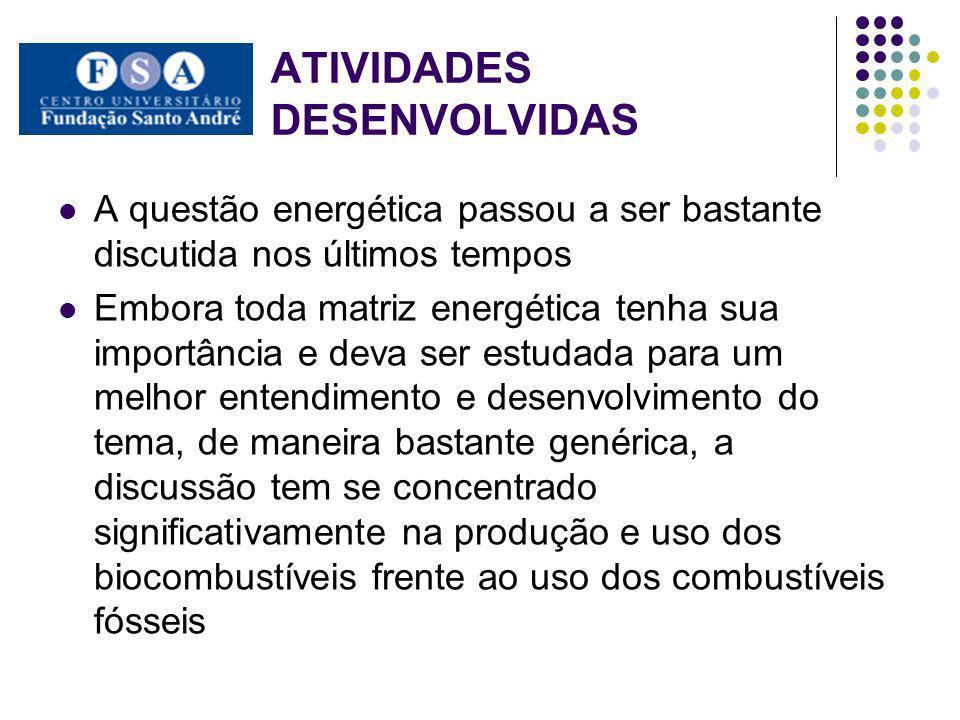 ATIVIDADES DESENVOLVIDAS