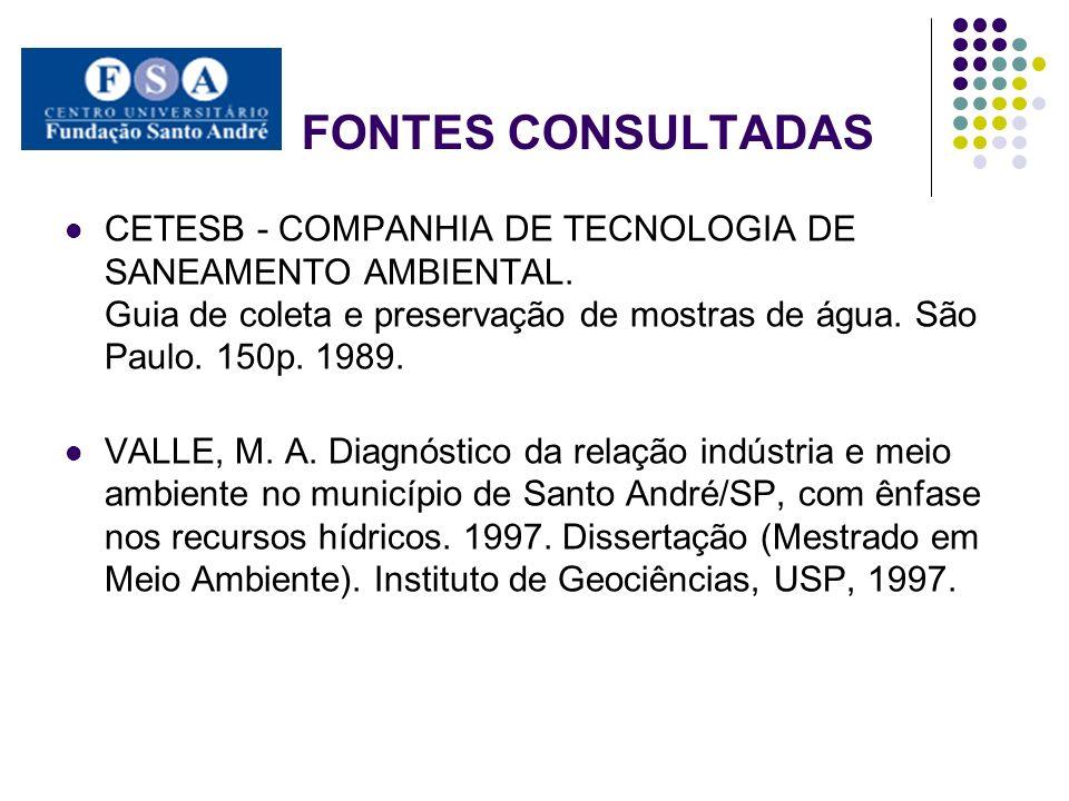 FONTES CONSULTADAS CETESB - COMPANHIA DE TECNOLOGIA DE SANEAMENTO AMBIENTAL. Guia de coleta e preservação de mostras de água. São Paulo. 150p. 1989.