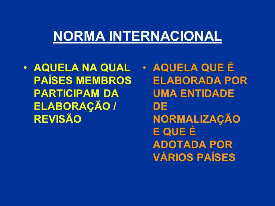 NORMA INTERNACIONAL AQUELA NA QUAL PAÍSES MEMBROS PARTICIPAM DA ELABORAÇÃO / REVISÃO.