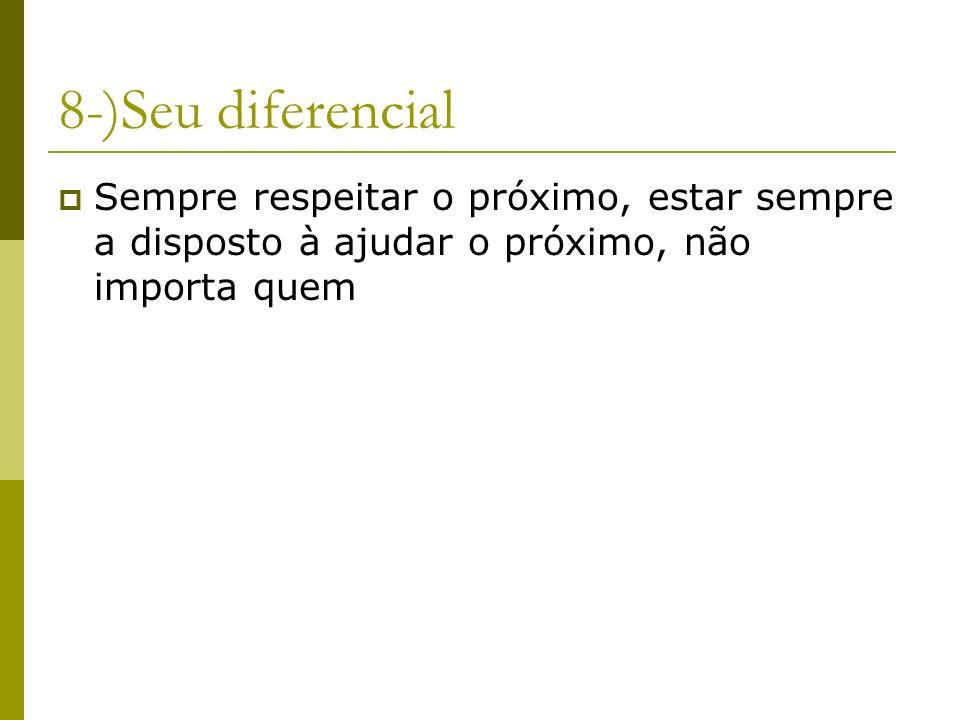 8-)Seu diferencial Sempre respeitar o próximo, estar sempre a disposto à ajudar o próximo, não importa quem.