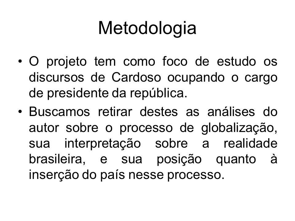 Metodologia O projeto tem como foco de estudo os discursos de Cardoso ocupando o cargo de presidente da república.