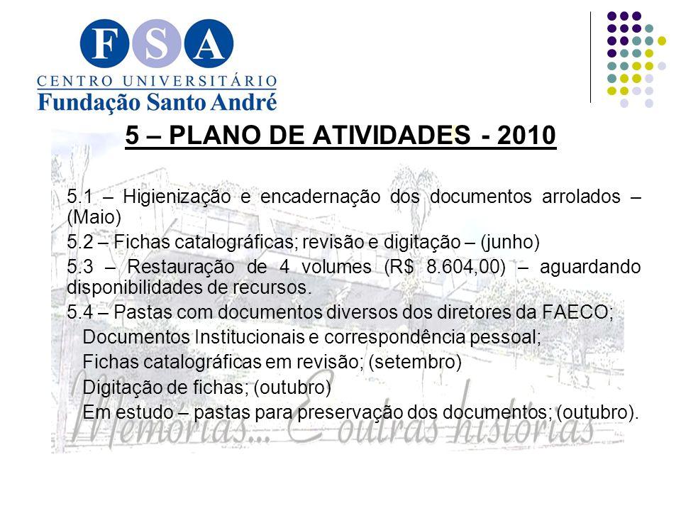 5 – PLANO DE ATIVIDADES - 2010 5.1 – Higienização e encadernação dos documentos arrolados – (Maio)