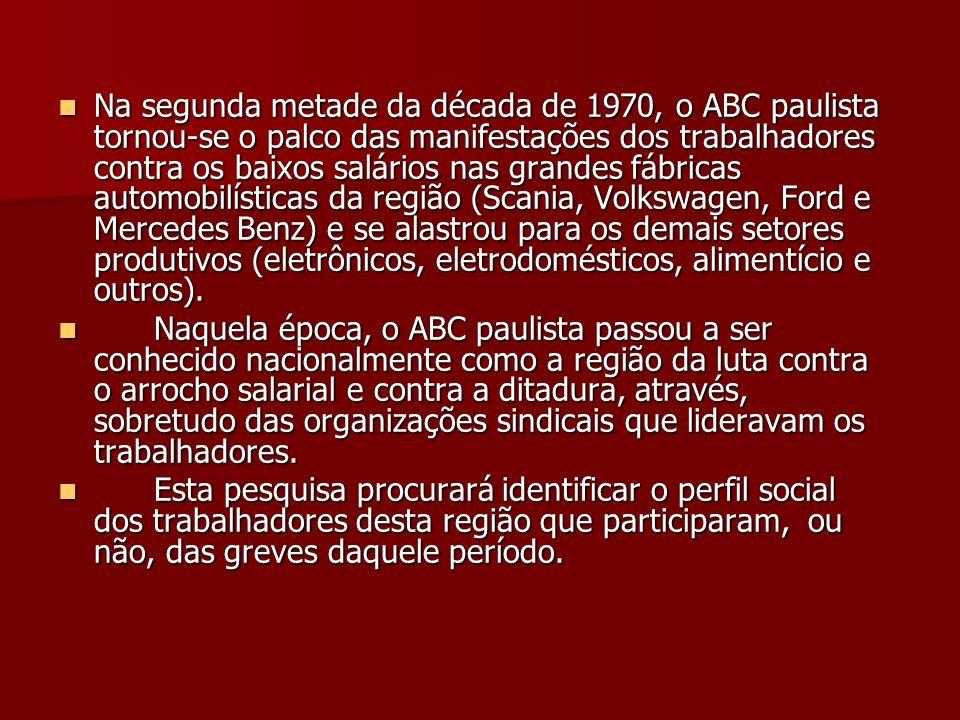Na segunda metade da década de 1970, o ABC paulista tornou-se o palco das manifestações dos trabalhadores contra os baixos salários nas grandes fábricas automobilísticas da região (Scania, Volkswagen, Ford e Mercedes Benz) e se alastrou para os demais setores produtivos (eletrônicos, eletrodomésticos, alimentício e outros).