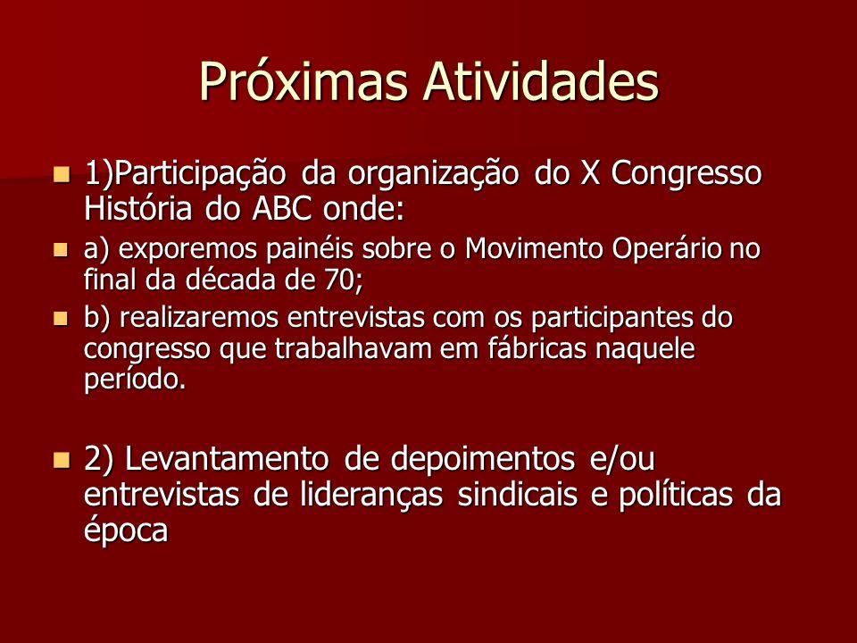 Próximas Atividades 1)Participação da organização do X Congresso História do ABC onde: