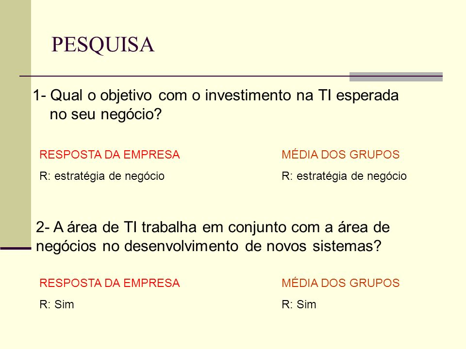 PESQUISA 1- Qual o objetivo com o investimento na TI esperada no seu negócio RESPOSTA DA EMPRESA.