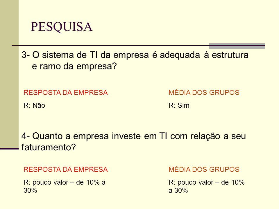 PESQUISA 3- O sistema de TI da empresa é adequada à estrutura e ramo da empresa RESPOSTA DA EMPRESA.