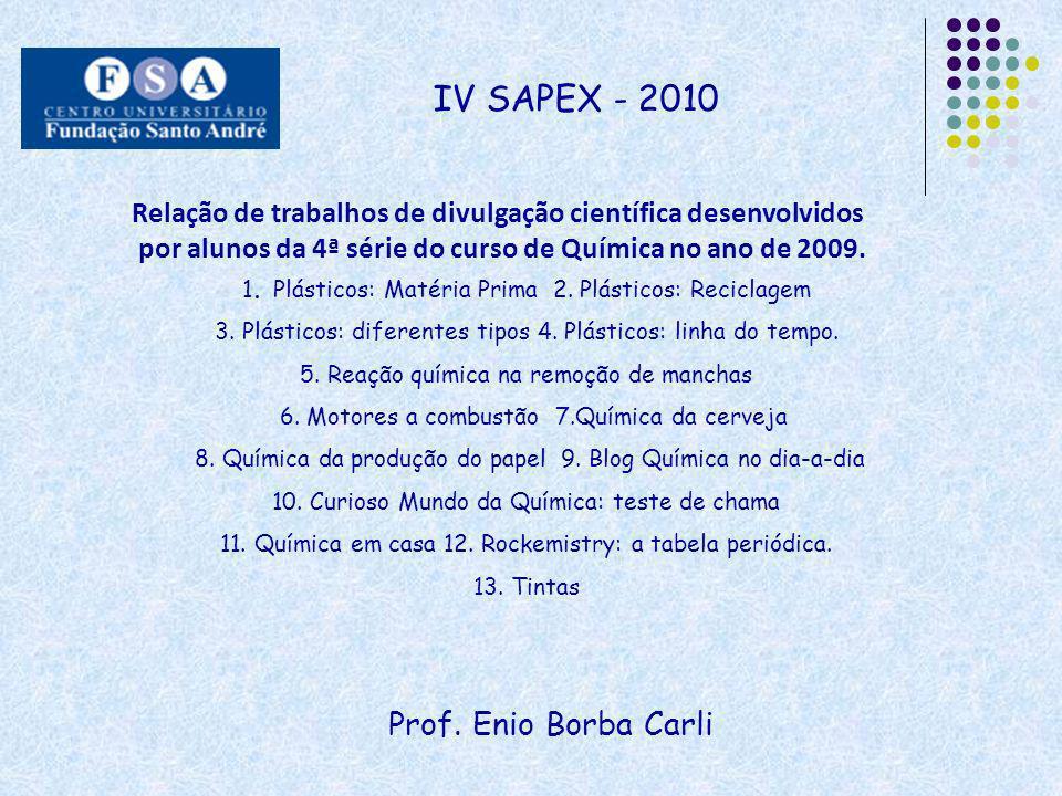 IV SAPEX - 2010 Relação de trabalhos de divulgação científica desenvolvidos. por alunos da 4ª série do curso de Química no ano de 2009.