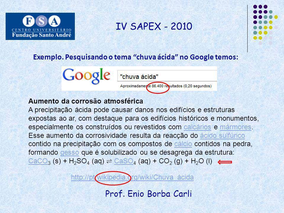 IV SAPEX - 2010 Exemplo. Pesquisando o tema chuva ácida no Google temos: Aumento da corrosão atmosférica.