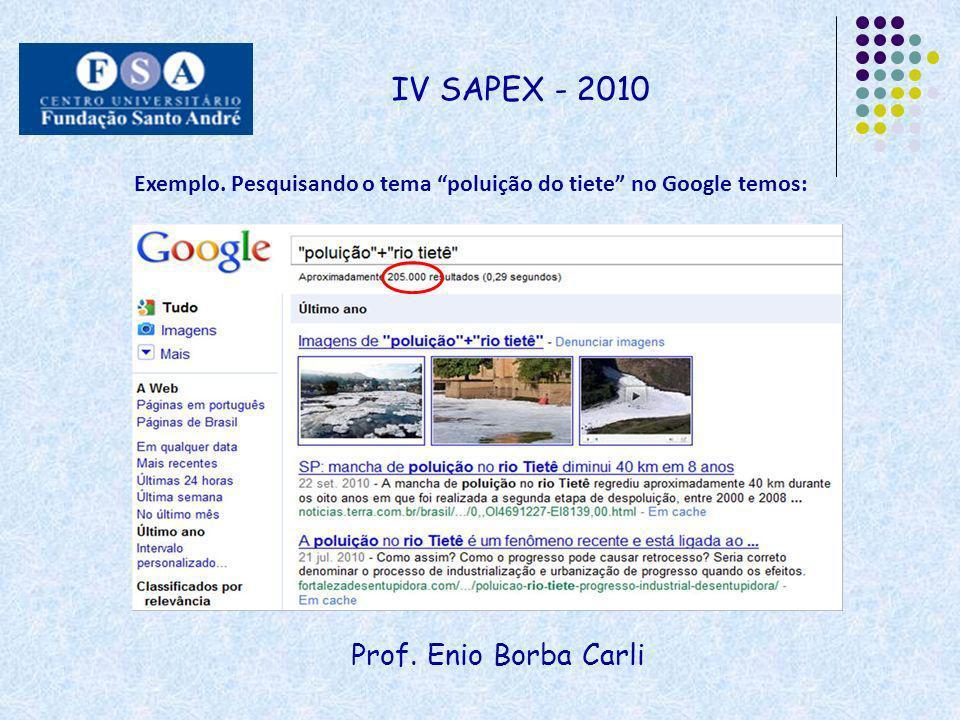 IV SAPEX - 2010 Prof. Enio Borba Carli