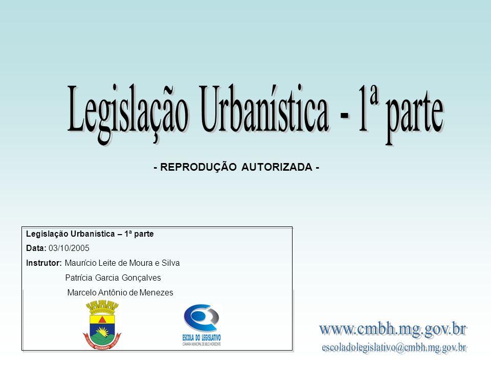 Legislação Urbanística - 1ª parte