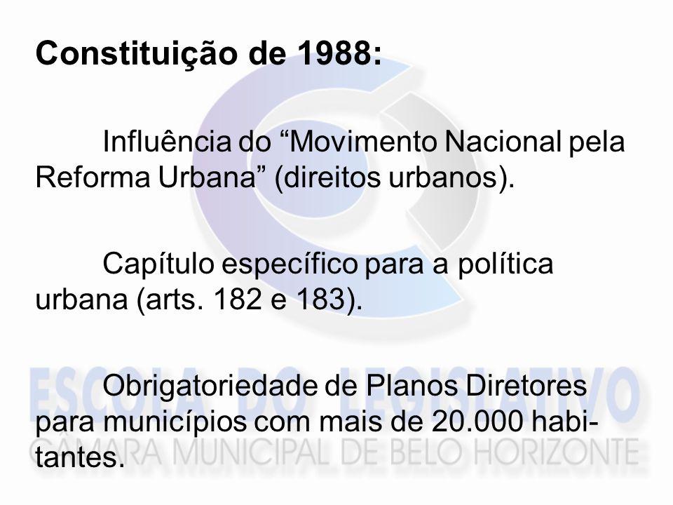 Constituição de 1988: Influência do Movimento Nacional pela Reforma Urbana (direitos urbanos).