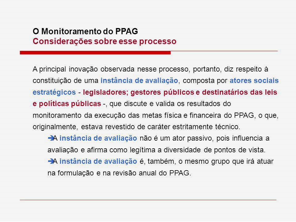 O Monitoramento do PPAG Considerações sobre esse processo