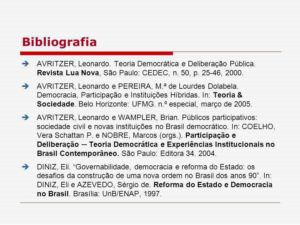 BibliografiaAVRITZER, Leonardo. Teoria Democrática e Deliberação Pública. Revista Lua Nova, São Paulo: CEDEC, n. 50, p. 25-46, 2000.