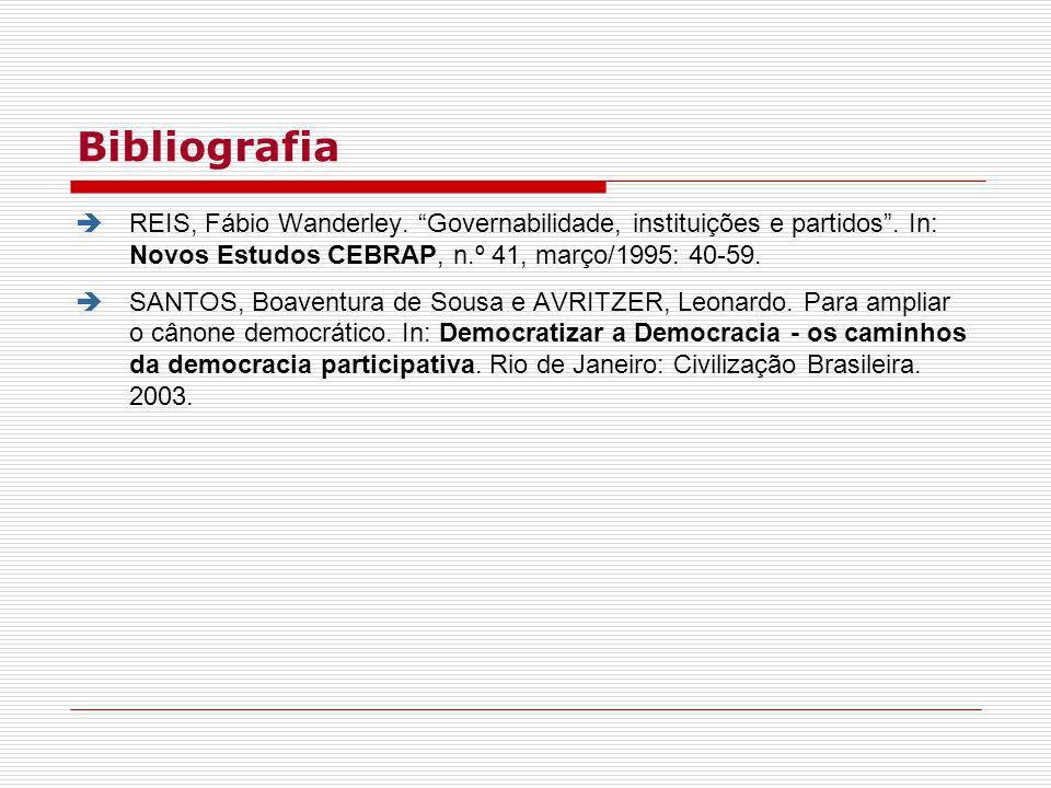 BibliografiaREIS, Fábio Wanderley. Governabilidade, instituições e partidos . In: Novos Estudos CEBRAP, n.º 41, março/1995: 40-59.