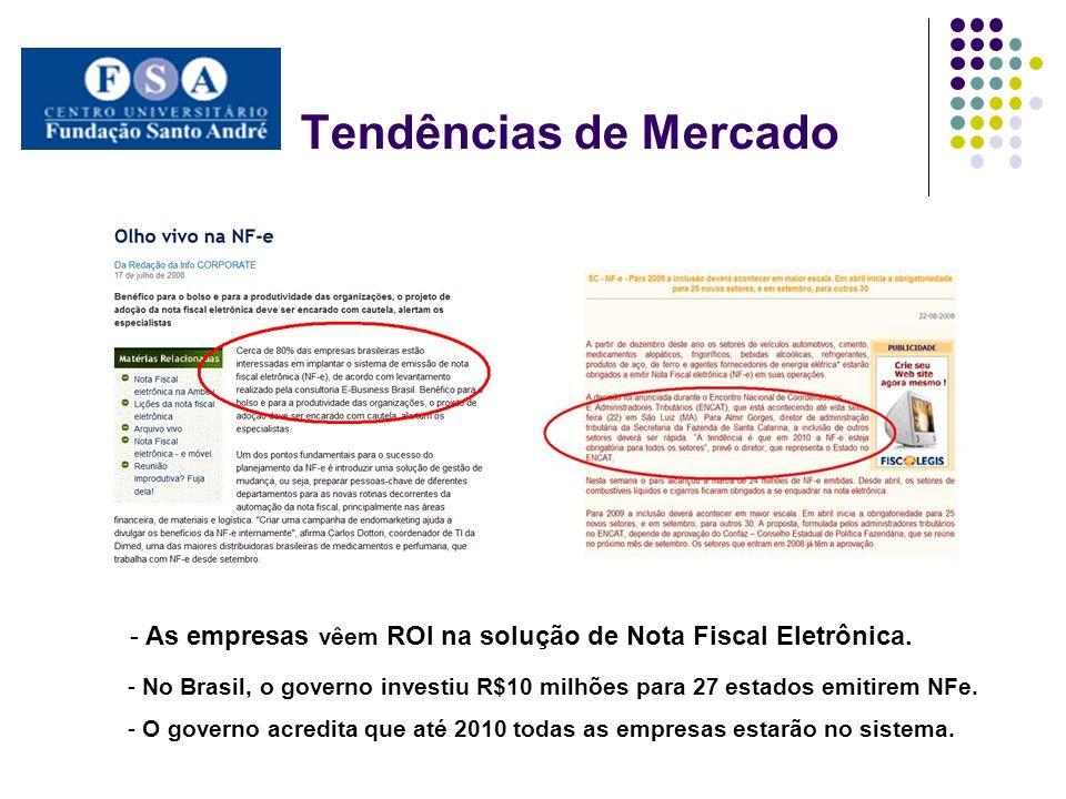 Tendências de Mercado As empresas vêem ROI na solução de Nota Fiscal Eletrônica.