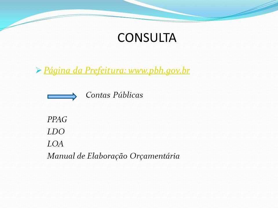 CONSULTA Página da Prefeitura: www.pbh.gov.br Contas Públicas PPAG LDO