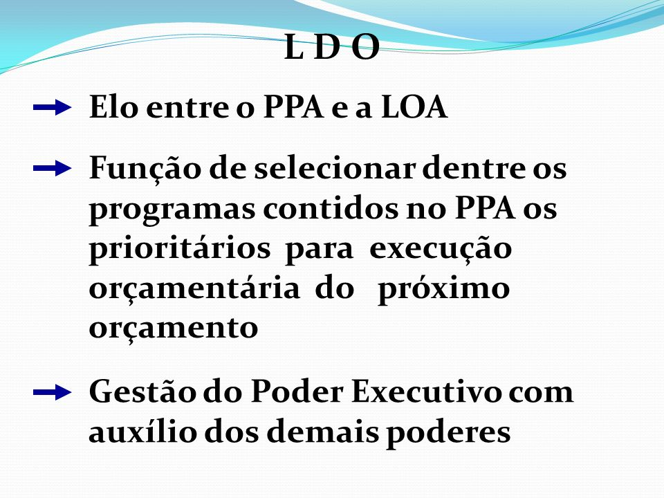 L D O Elo entre o PPA e a LOA Função de selecionar dentre os