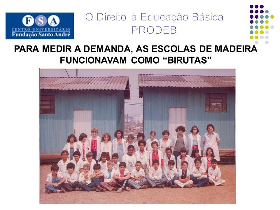 PARA MEDIR A DEMANDA, As escolas de madeira FUNCIONAVAM COMO BIRUTAS
