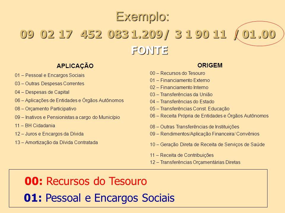Exemplo:09. 02. 17. 452. 083. 1.209. / 3. 1. 90. 11. / 01. .00. FONTE. APLICAÇÃO. 01 – Pessoal e Encargos Sociais.