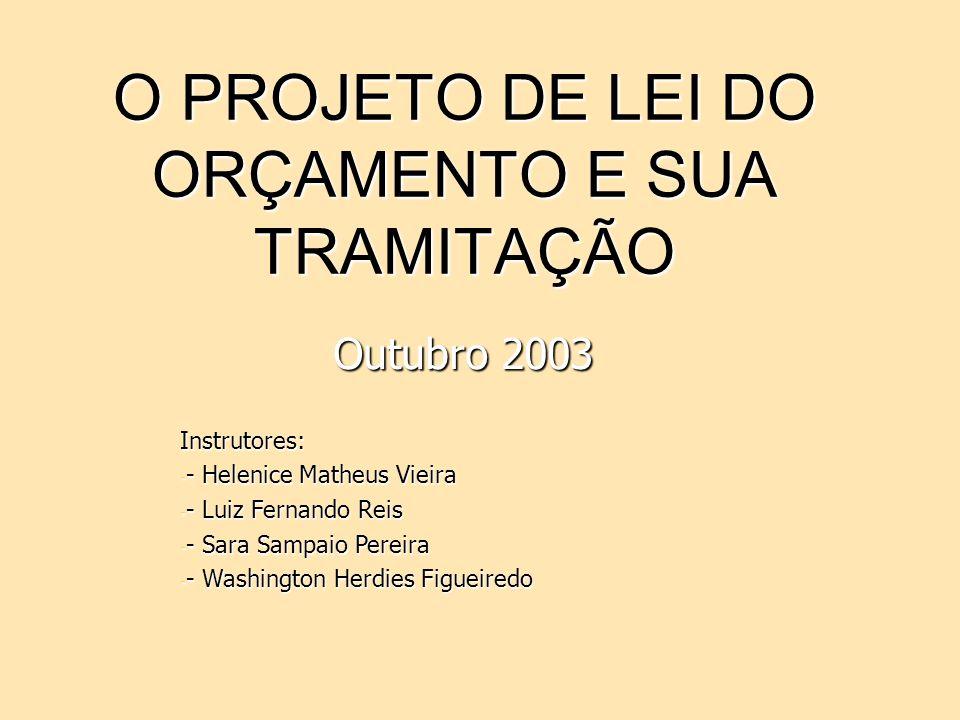 O PROJETO DE LEI DO ORÇAMENTO E SUA TRAMITAÇÃO