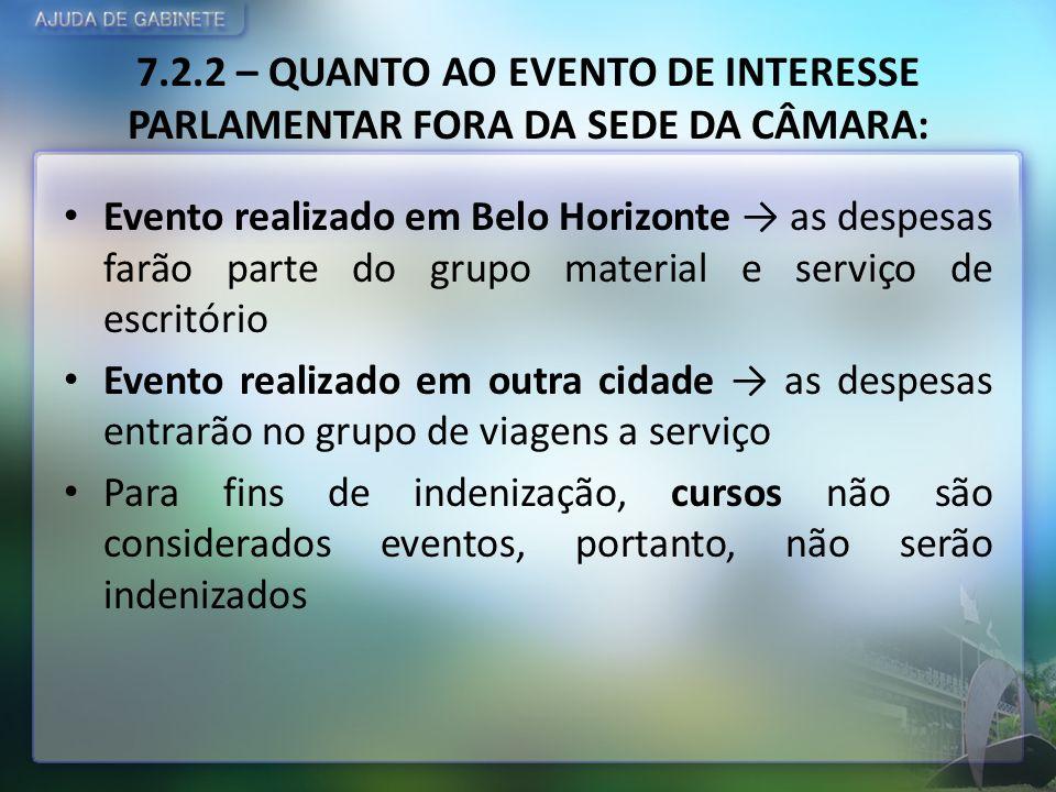 7.2.2 – QUANTO AO EVENTO DE INTERESSE PARLAMENTAR FORA DA SEDE DA CÂMARA: