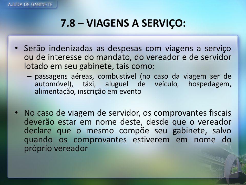 7.8 – VIAGENS A SERVIÇO: