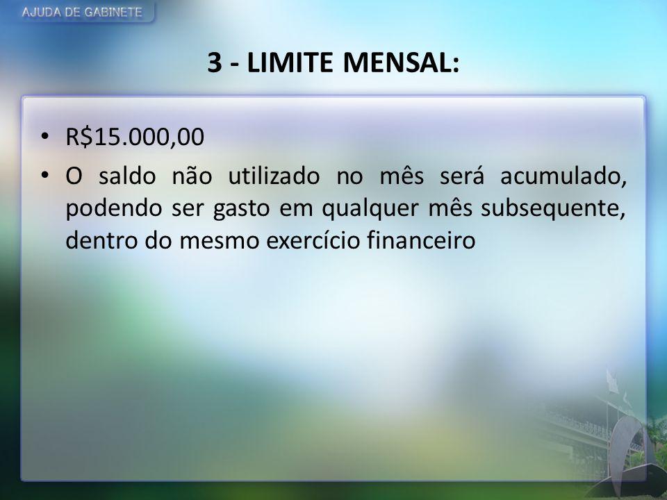 3 - LIMITE MENSAL:R$15.000,00