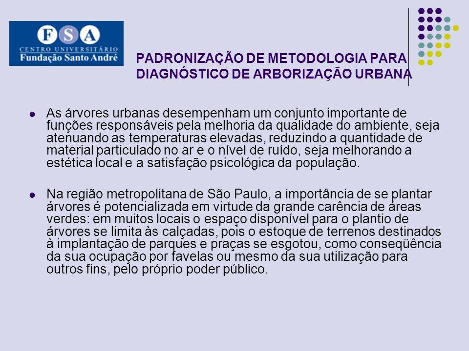 PADRONIZAÇÃO DE METODOLOGIA PARA DIAGNÓSTICO DE ARBORIZAÇÃO URBANA