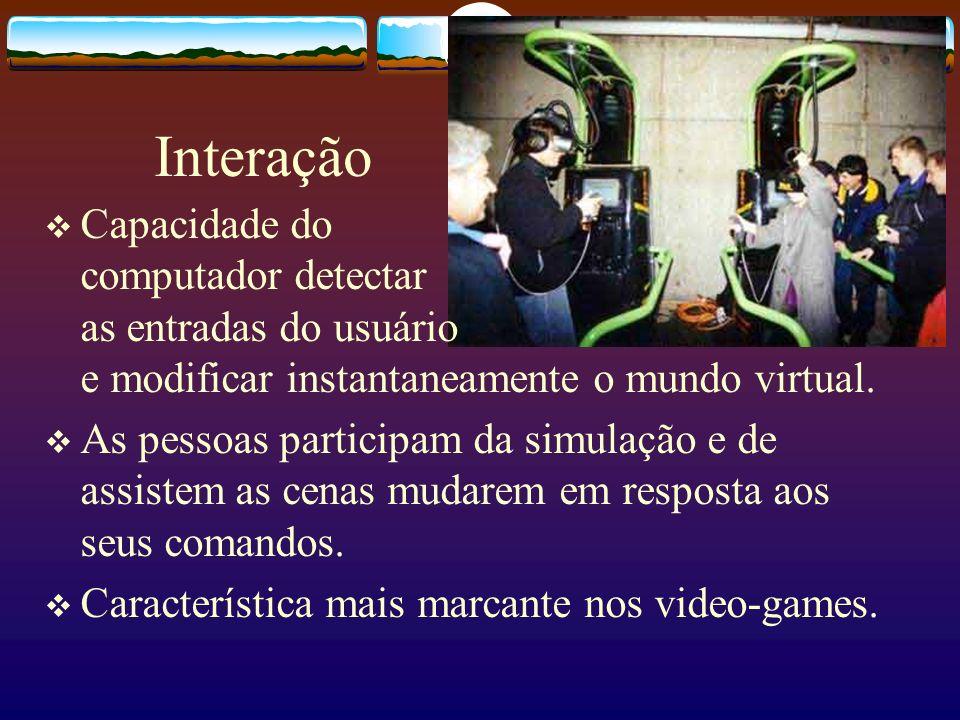Interação Capacidade do computador detectar as entradas do usuário e modificar instantaneamente o mundo virtual.