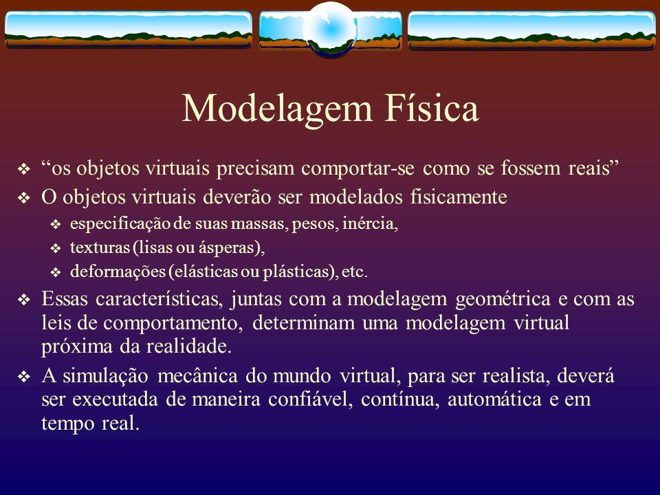 Modelagem Física os objetos virtuais precisam comportar-se como se fossem reais O objetos virtuais deverão ser modelados fisicamente.