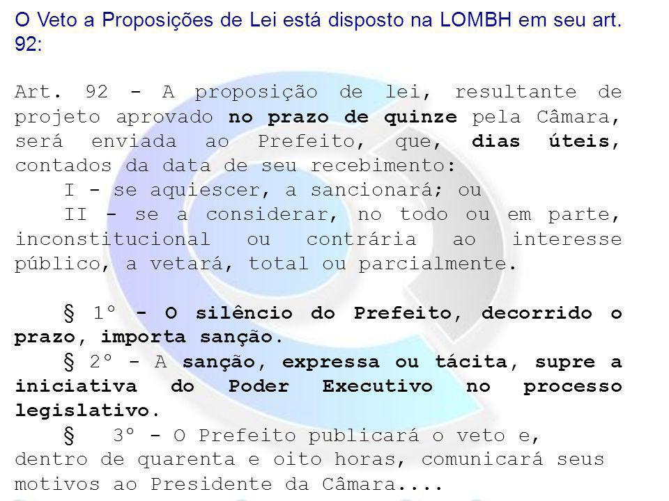 O Veto a Proposições de Lei está disposto na LOMBH em seu art. 92: