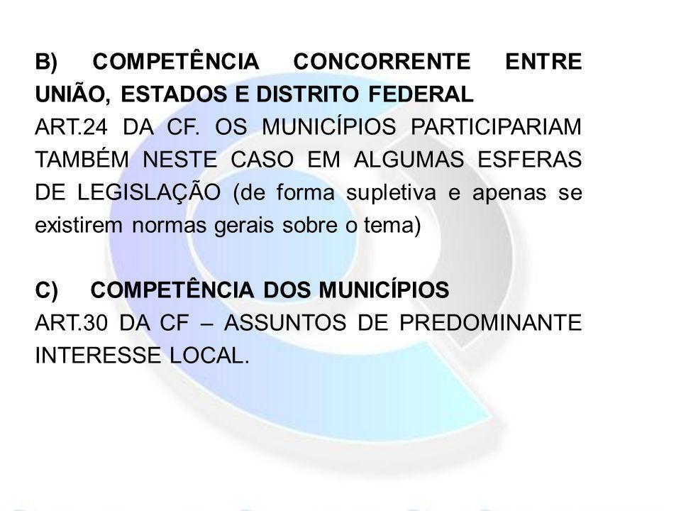 B) COMPETÊNCIA CONCORRENTE ENTRE UNIÃO, ESTADOS E DISTRITO FEDERAL
