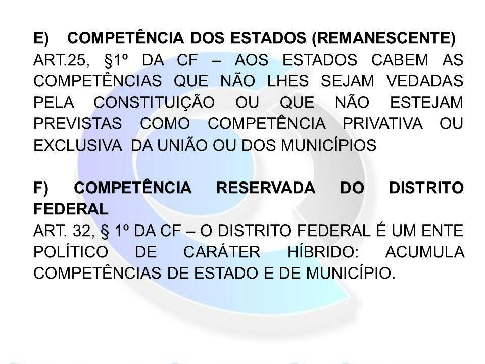 E) COMPETÊNCIA DOS ESTADOS (REMANESCENTE)