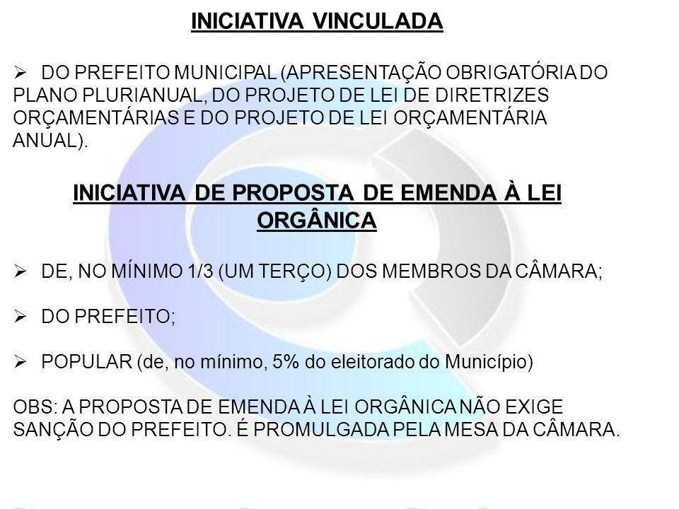 INICIATIVA DE PROPOSTA DE EMENDA À LEI ORGÂNICA