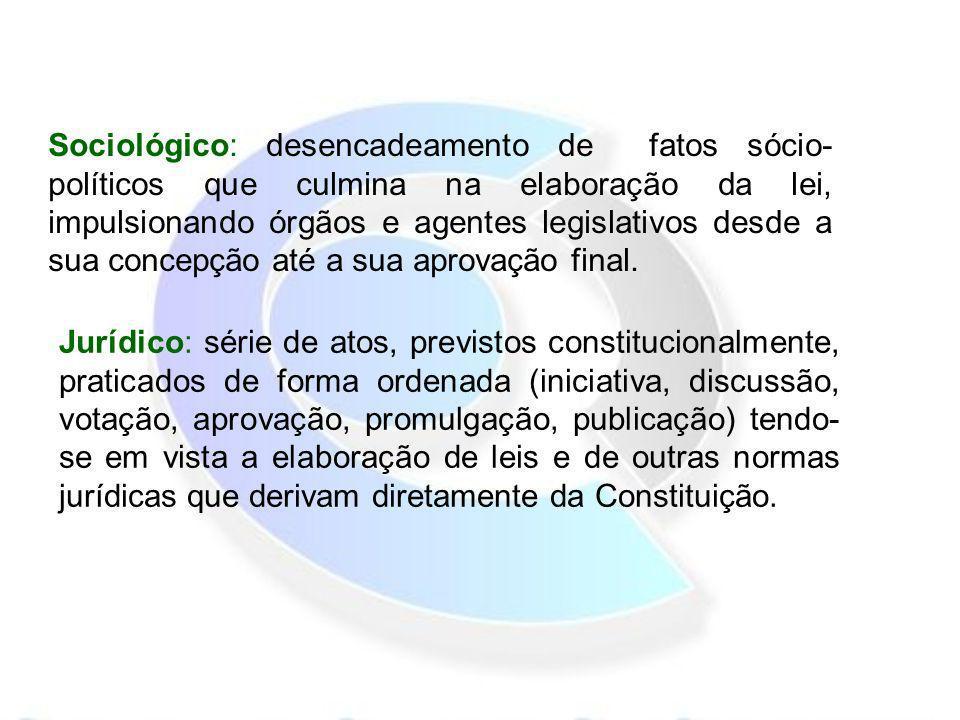 Sociológico: desencadeamento de fatos sócio-políticos que culmina na elaboração da lei, impulsionando órgãos e agentes legislativos desde a sua concepção até a sua aprovação final.