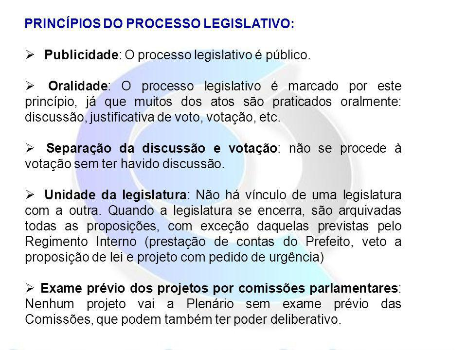 PRINCÍPIOS DO PROCESSO LEGISLATIVO: