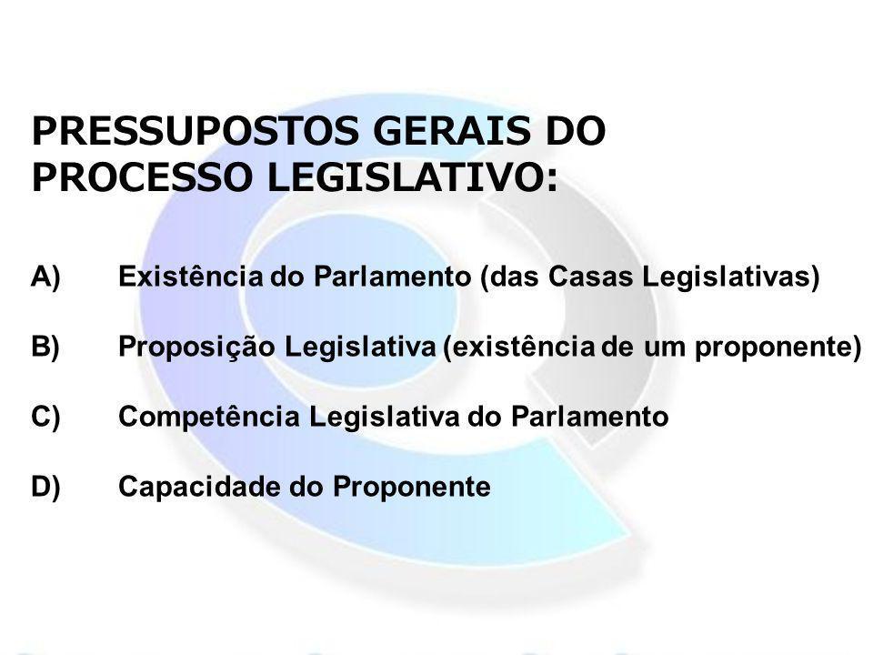 PRESSUPOSTOS GERAIS DO PROCESSO LEGISLATIVO:
