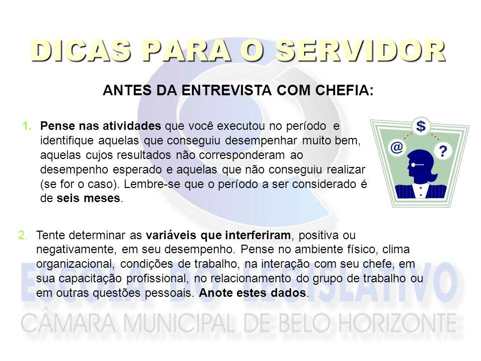 ANTES DA ENTREVISTA COM CHEFIA: