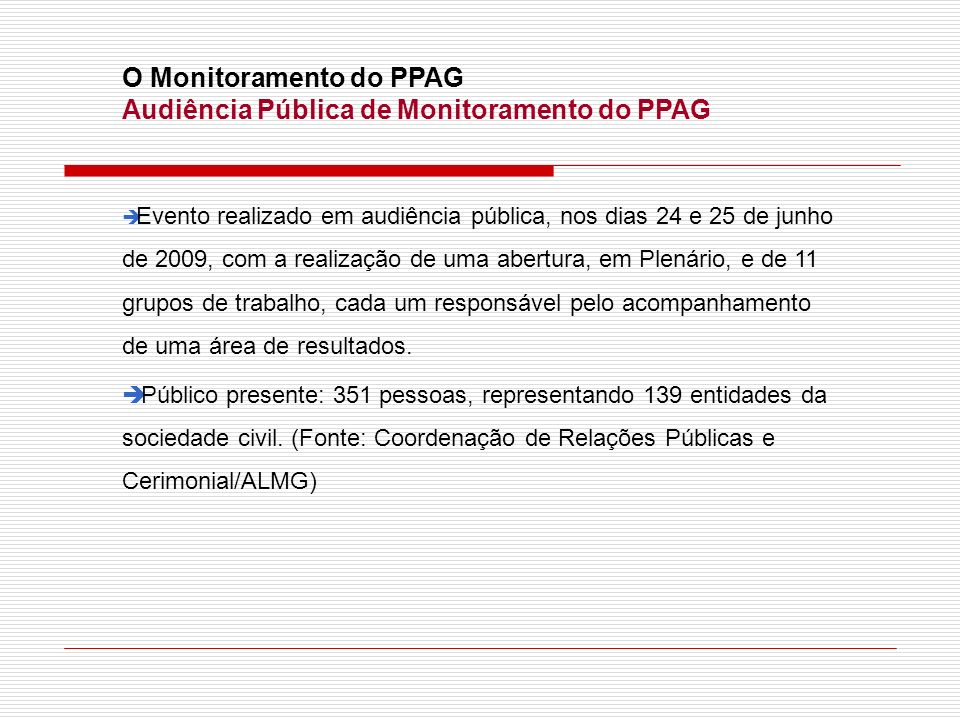 O Monitoramento do PPAG Audiência Pública de Monitoramento do PPAG