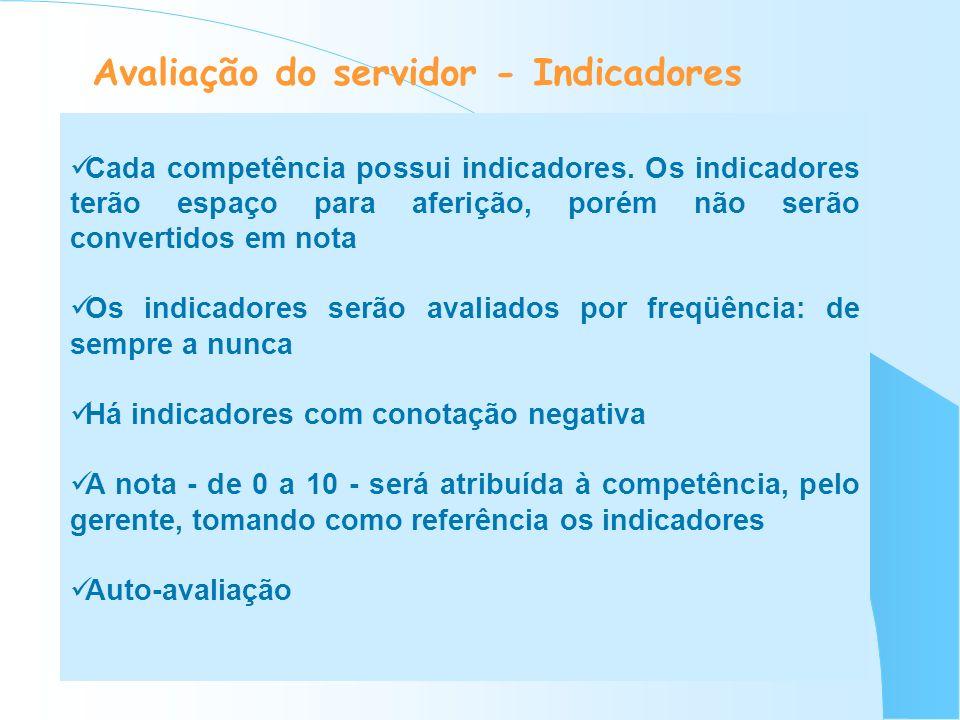 Avaliação do servidor - Indicadores