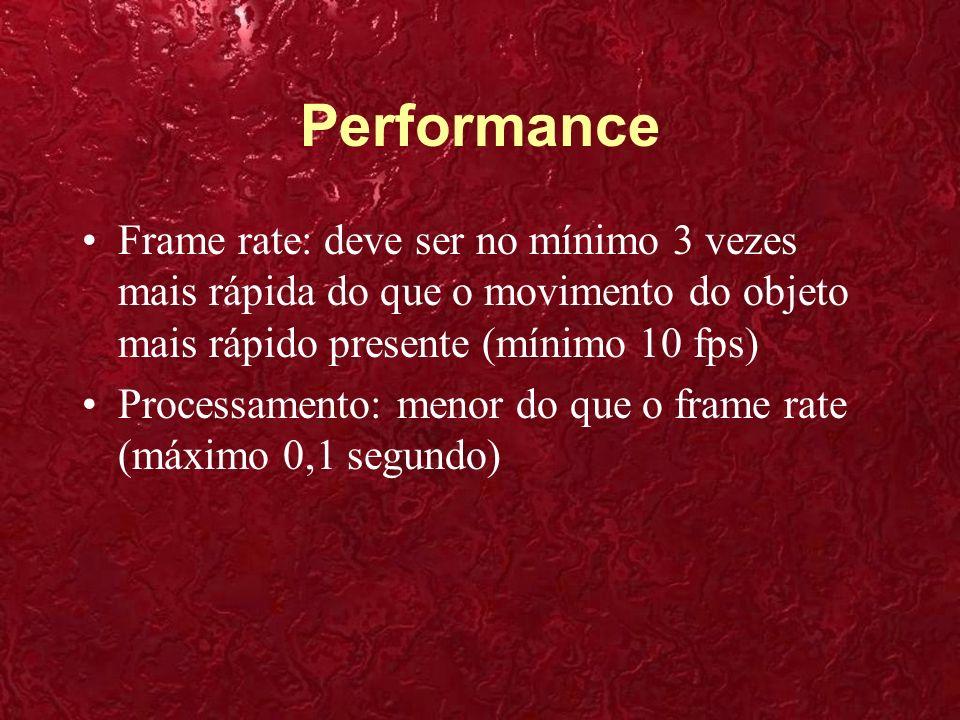 Performance Frame rate: deve ser no mínimo 3 vezes mais rápida do que o movimento do objeto mais rápido presente (mínimo 10 fps)