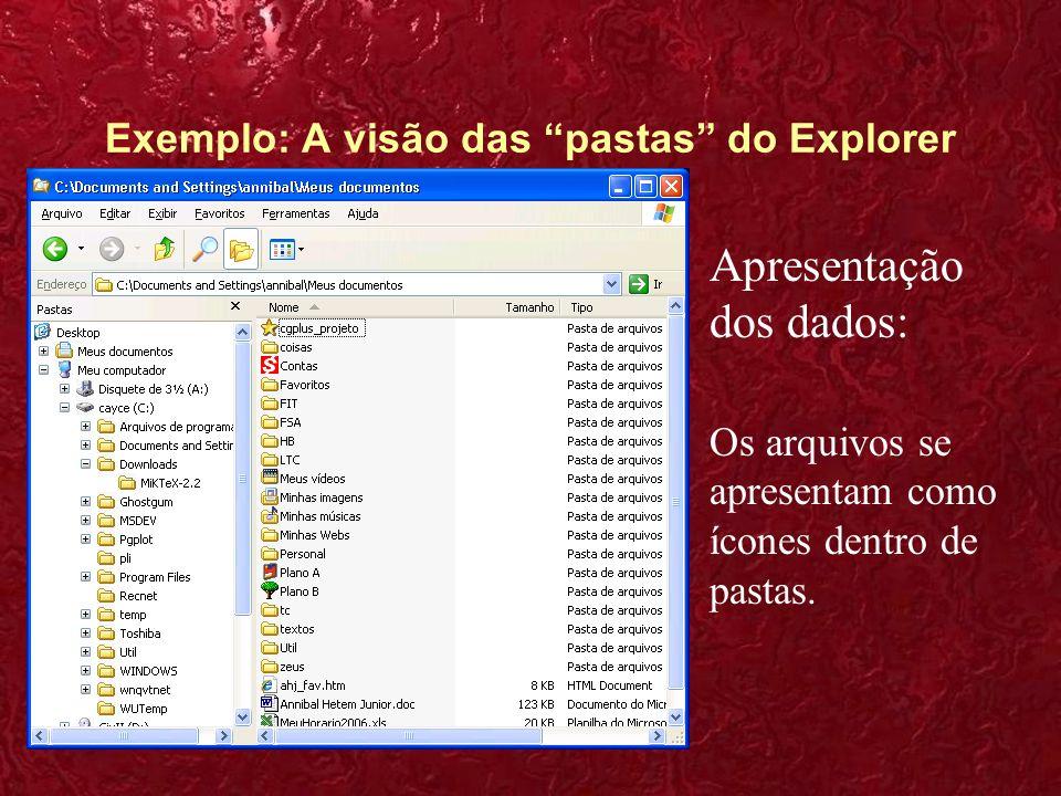 Exemplo: A visão das pastas do Explorer
