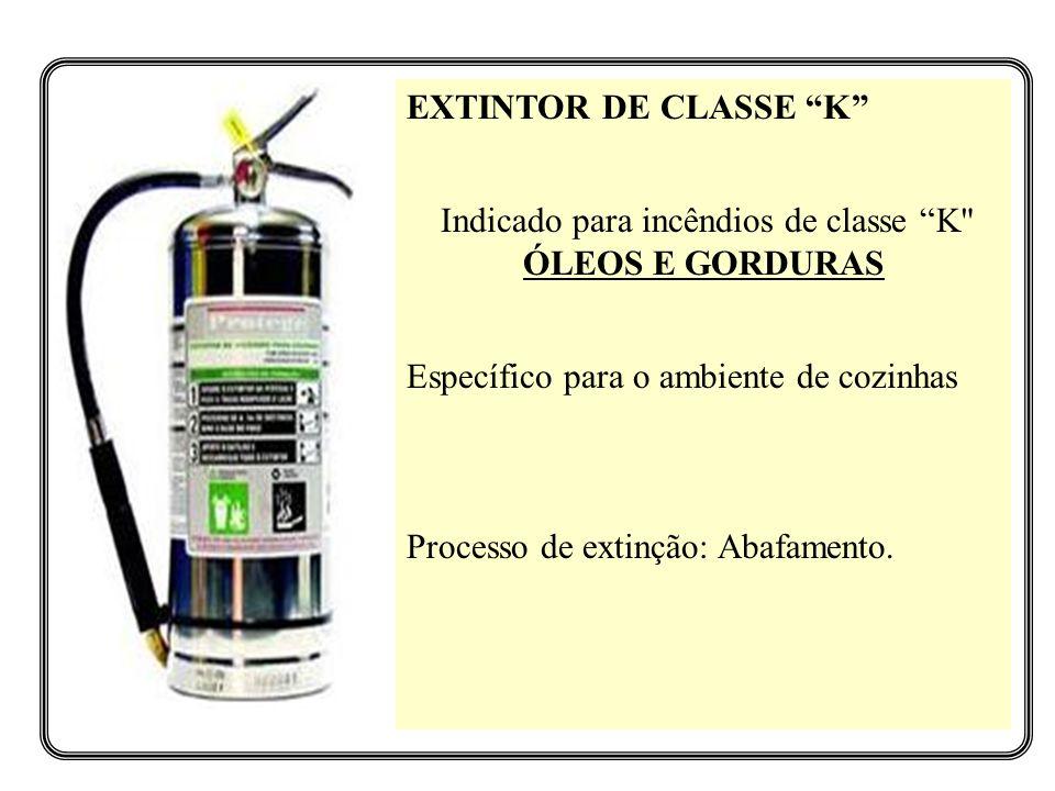 Indicado para incêndios de classe K ÓLEOS E GORDURAS
