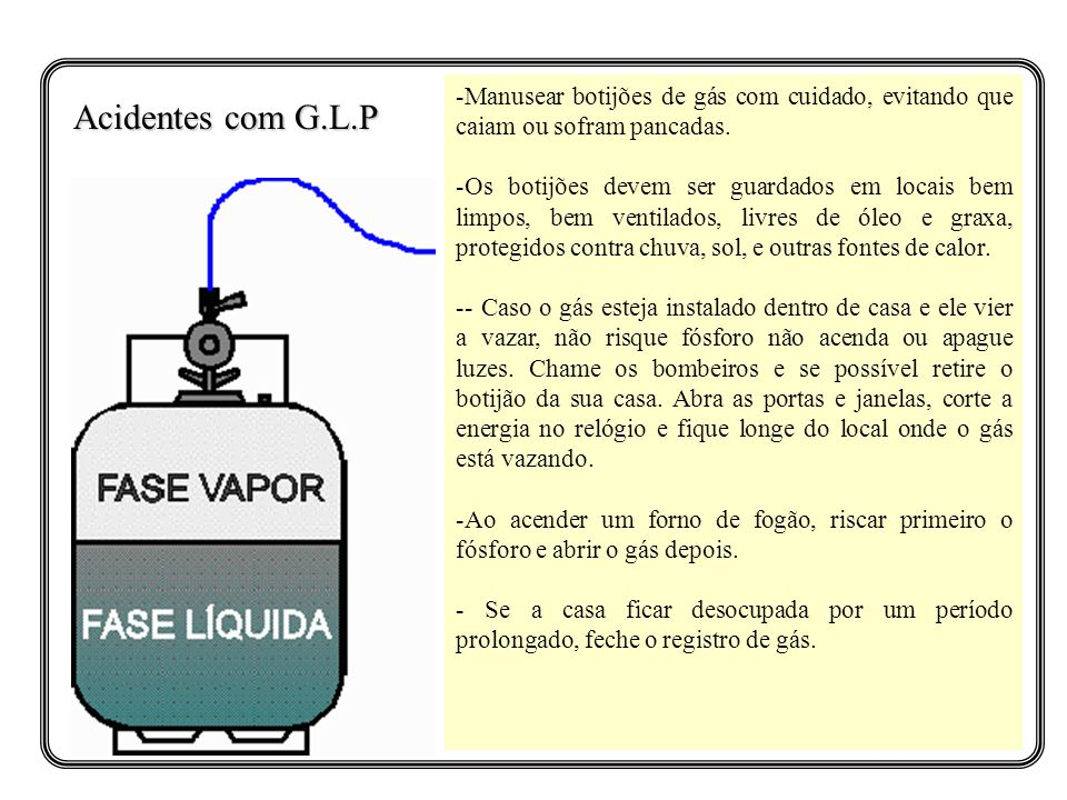 Manusear botijões de gás com cuidado, evitando que caiam ou sofram pancadas.